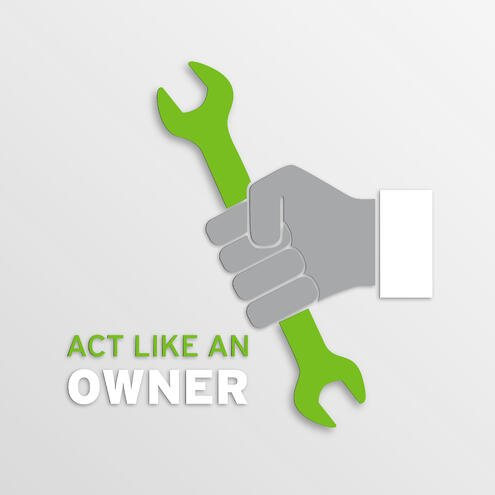 """hand holding a wrench with text """"Act Like An Owner"""""""