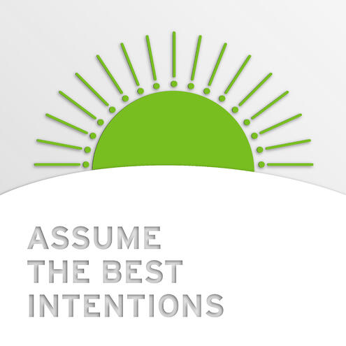 """rising sun with text """"assume the best intentions"""""""