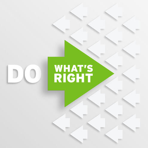 """white arrows point left & 1 green arrow points right with the text """"do what's right """""""