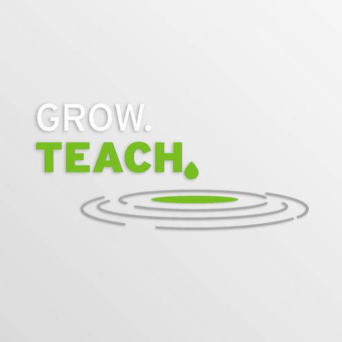 """ripples in a pool of water with the text """"Grow Teach"""""""