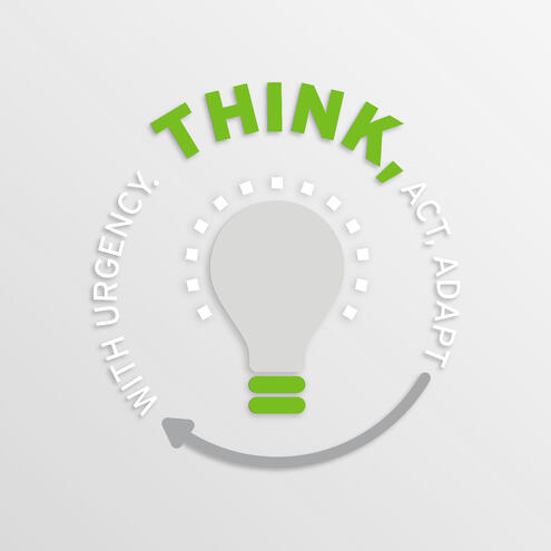 """light bulb surrounded by text that says """"think, act, adapt with urgency"""""""